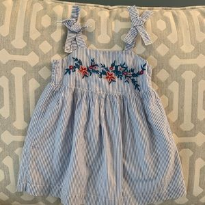 Baby Gap girls blue striped dress with flowers